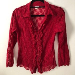 Red Sweet Pea Blouse! Size large.